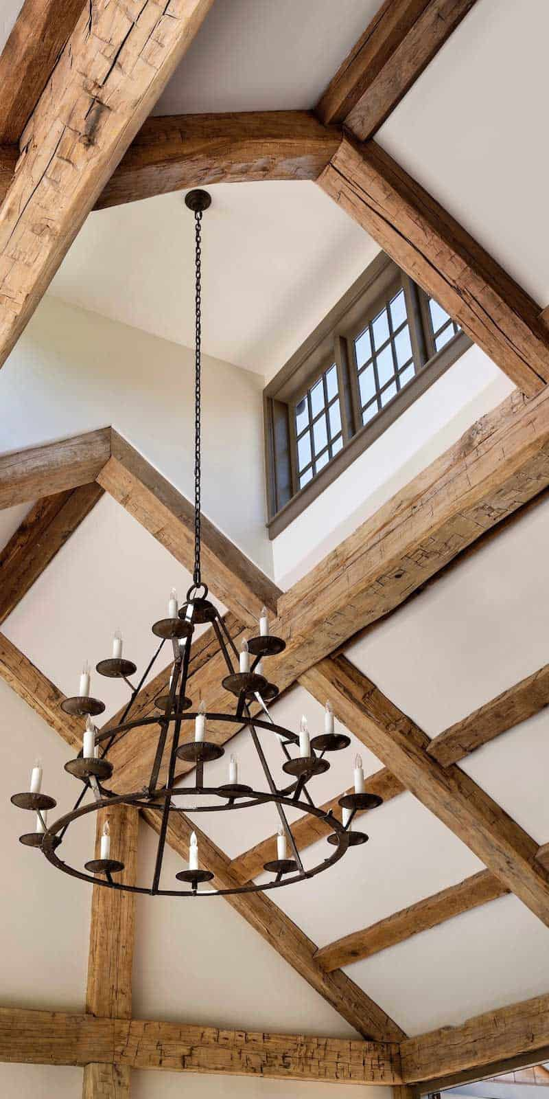 reclaimed hewn timber ceiling