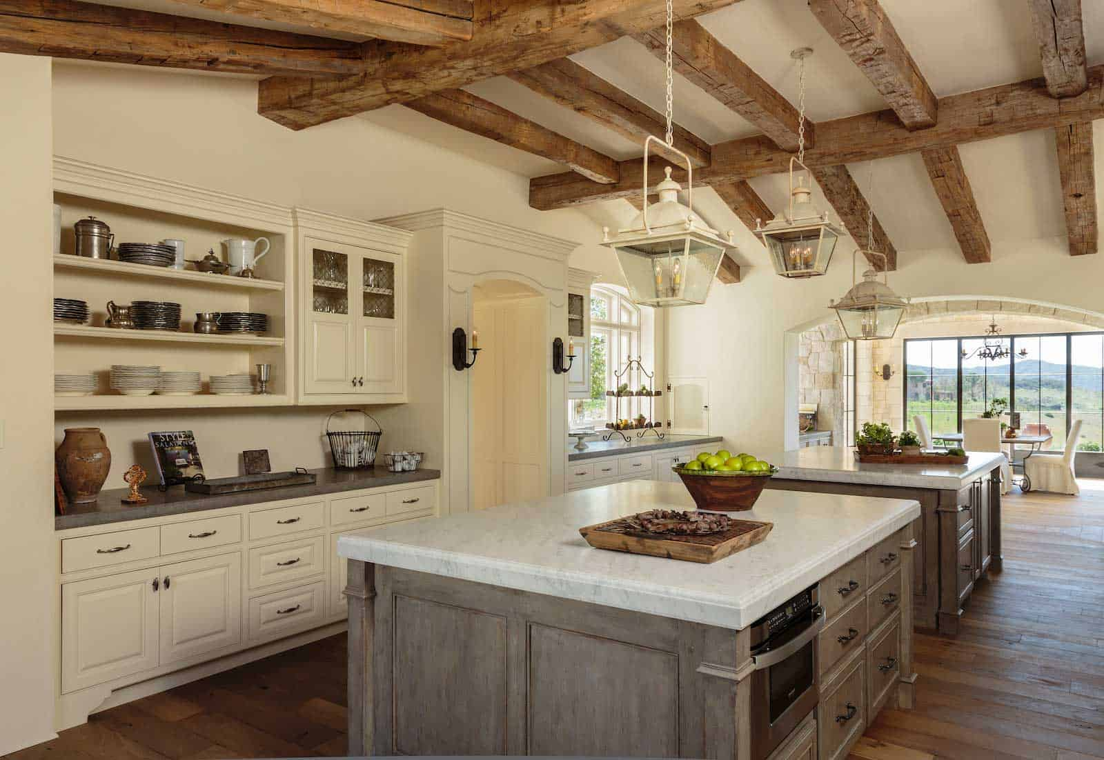 vintage beams in kitchen