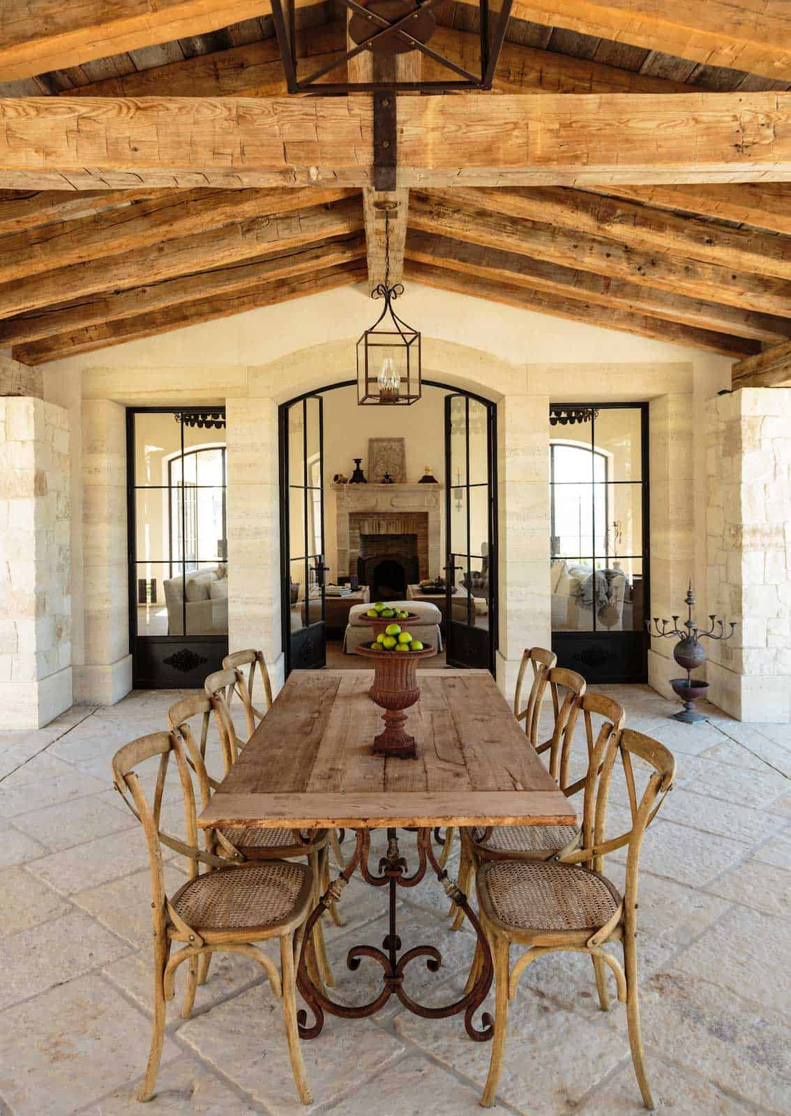 outdoor dining vintage beams