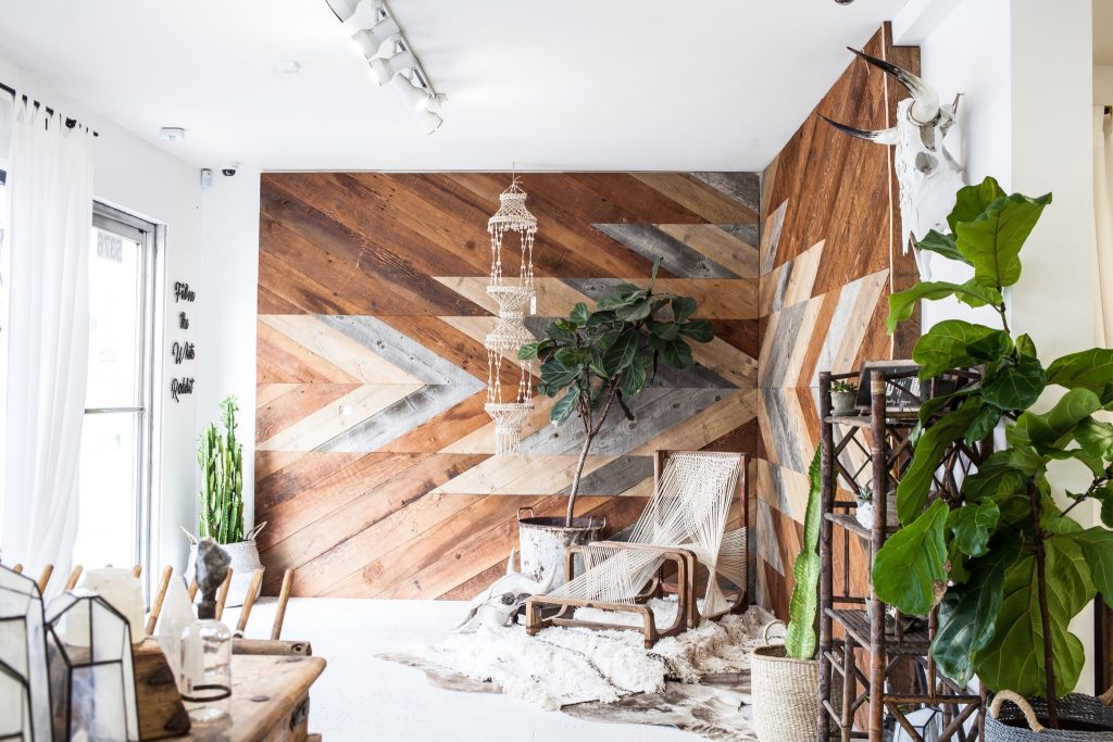 custom designed reclaimed wood wall