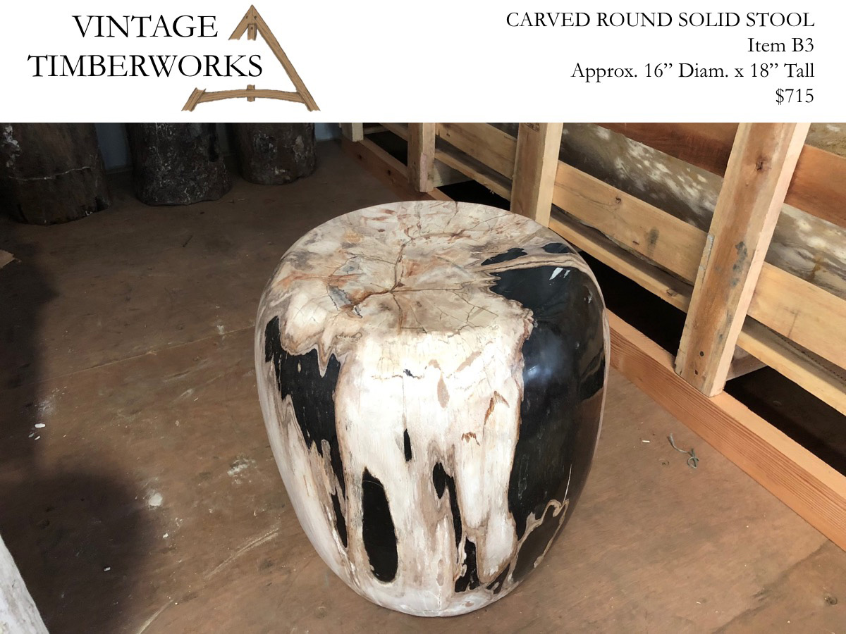 Black and White Carved Petrified Wood Stool