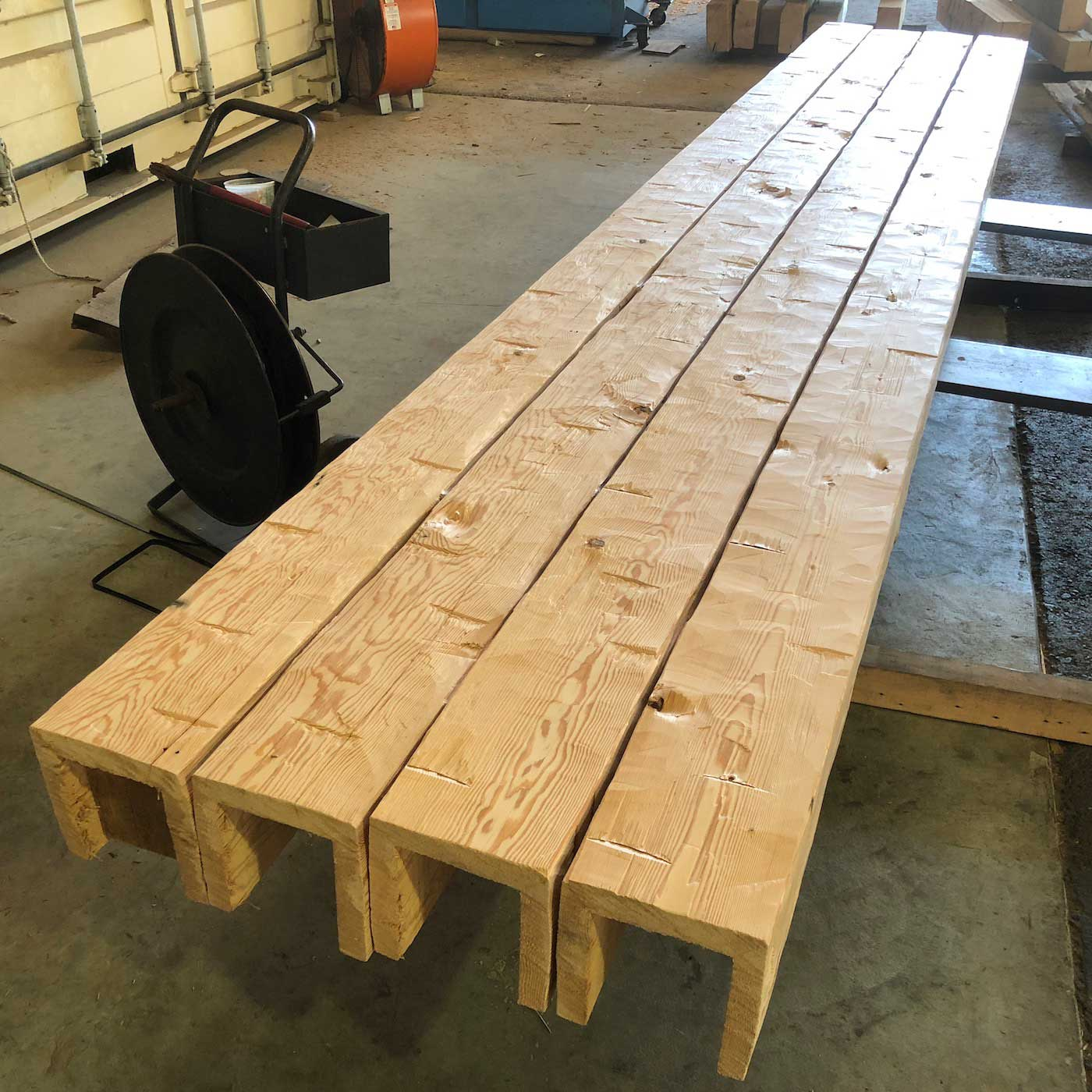 Hand hewn douglas fir box beams - Box Beam Fabrication