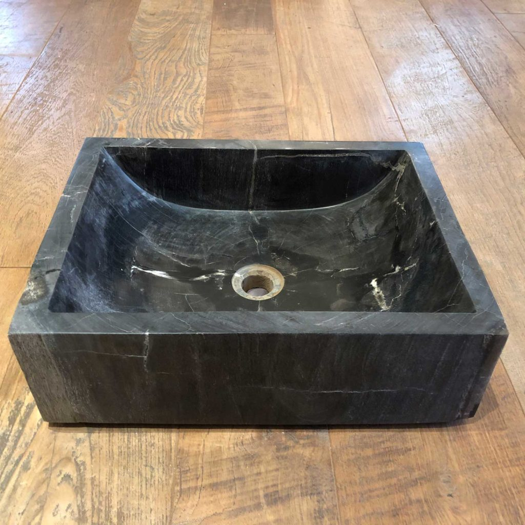 Petrified wood square black sink