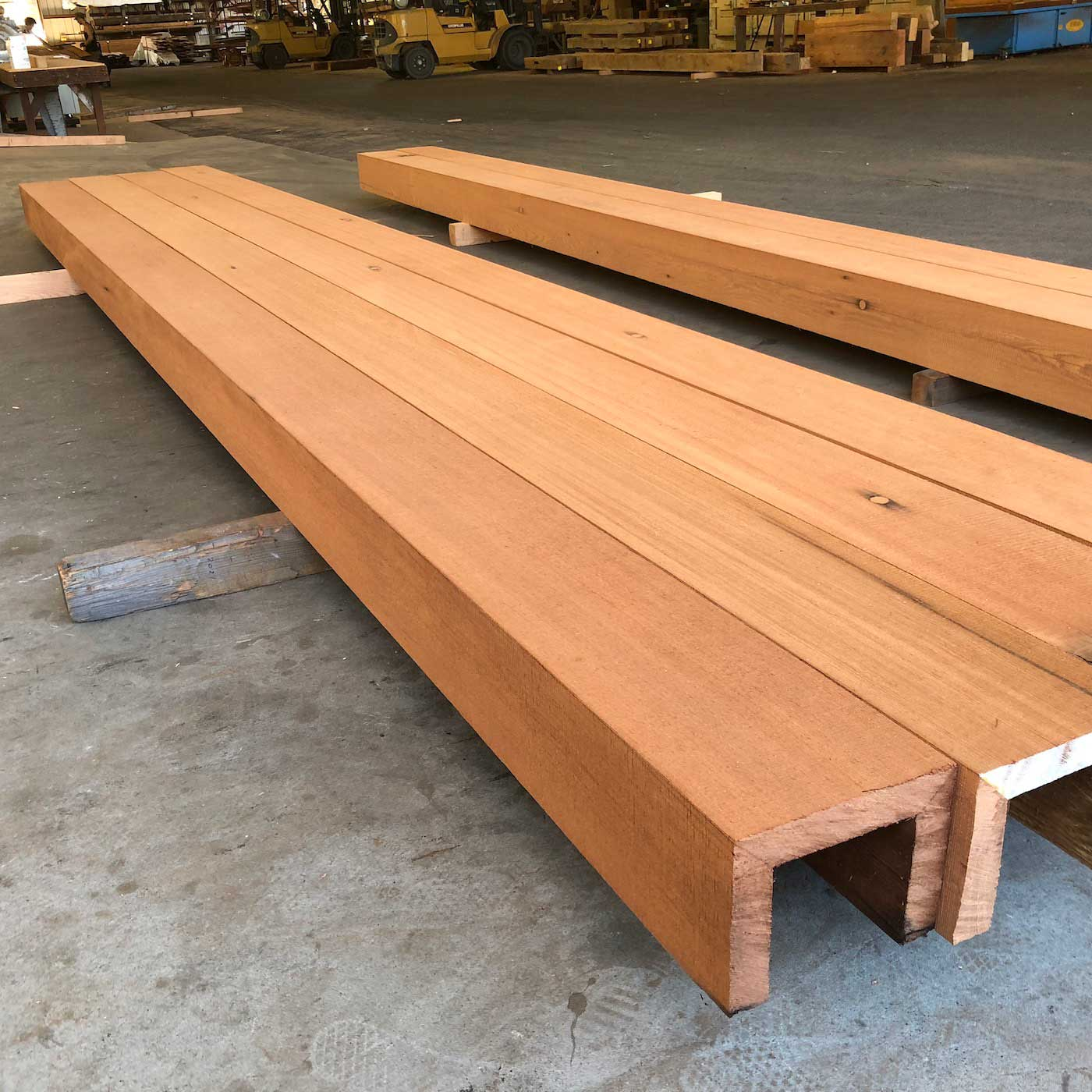 Resawn Redwood Box Beams Detail - Box Beam Fabrication