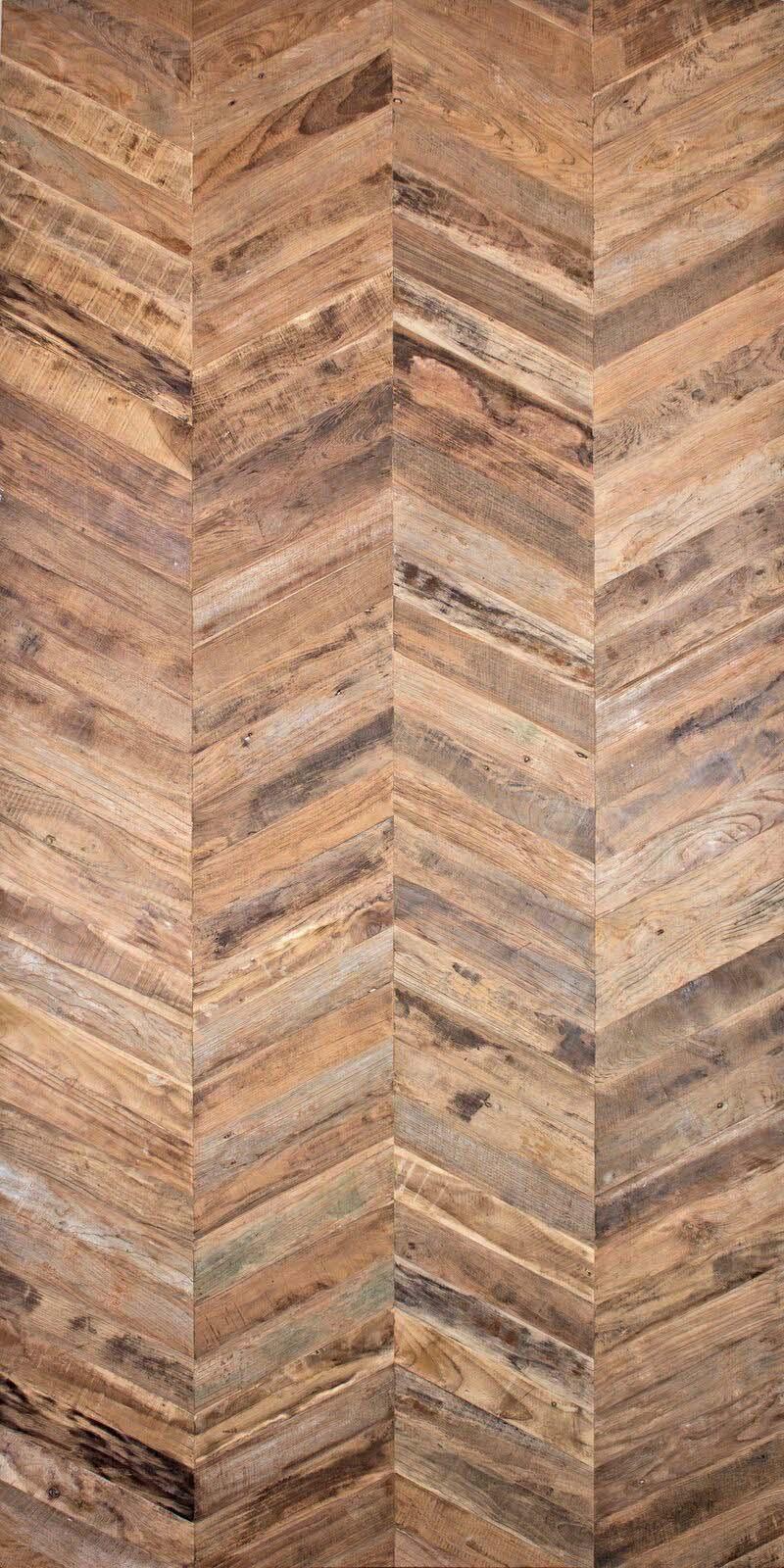 chevron patina full sheet - Reclaimed Teak Plywood Panels