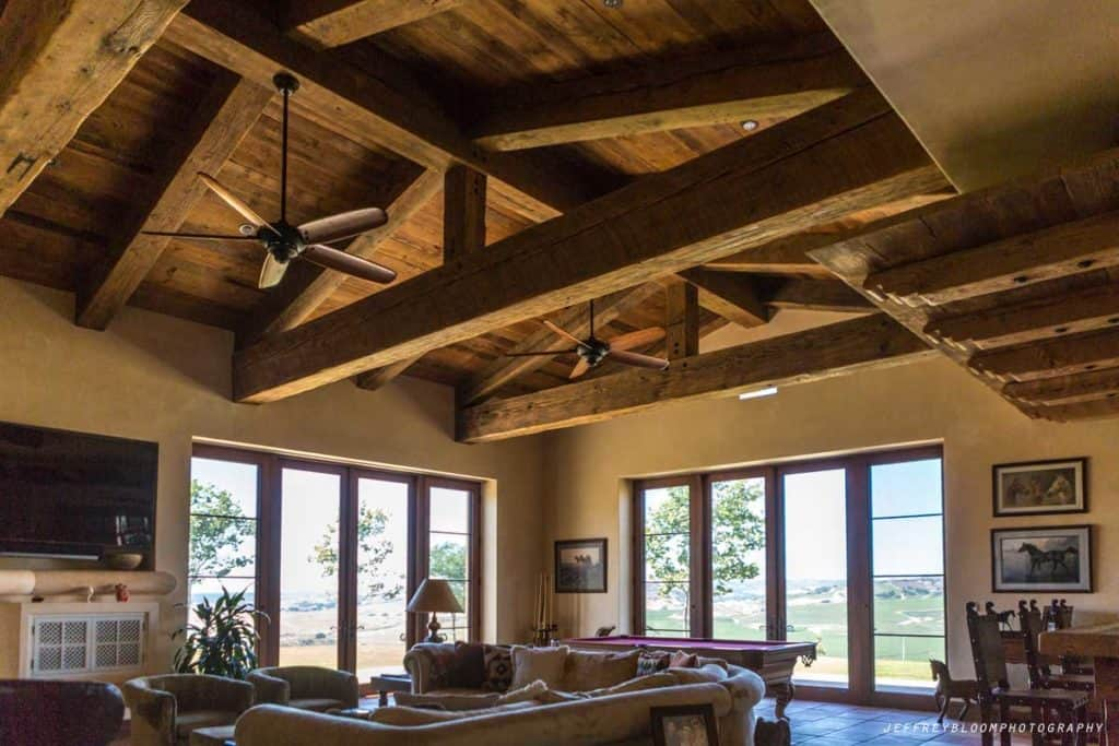 rustic Douglas fir trusses great room