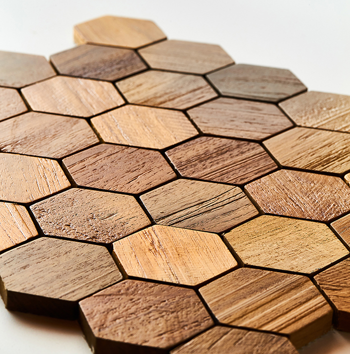 natural closeup 1 - Teak Tile - Honeycomb