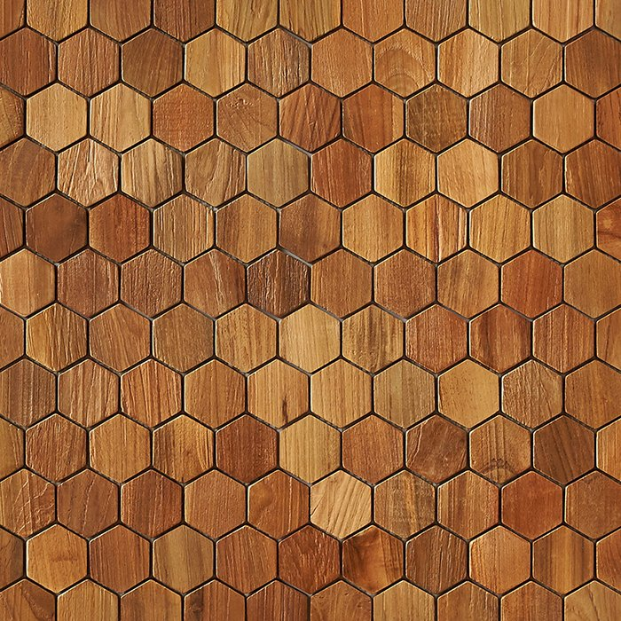 natural matte finish 1 - Teak Tile - Honeycomb