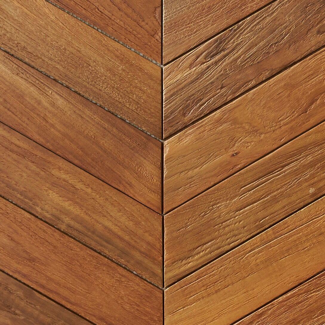 natural matte finish - Teak Tile - Chevron