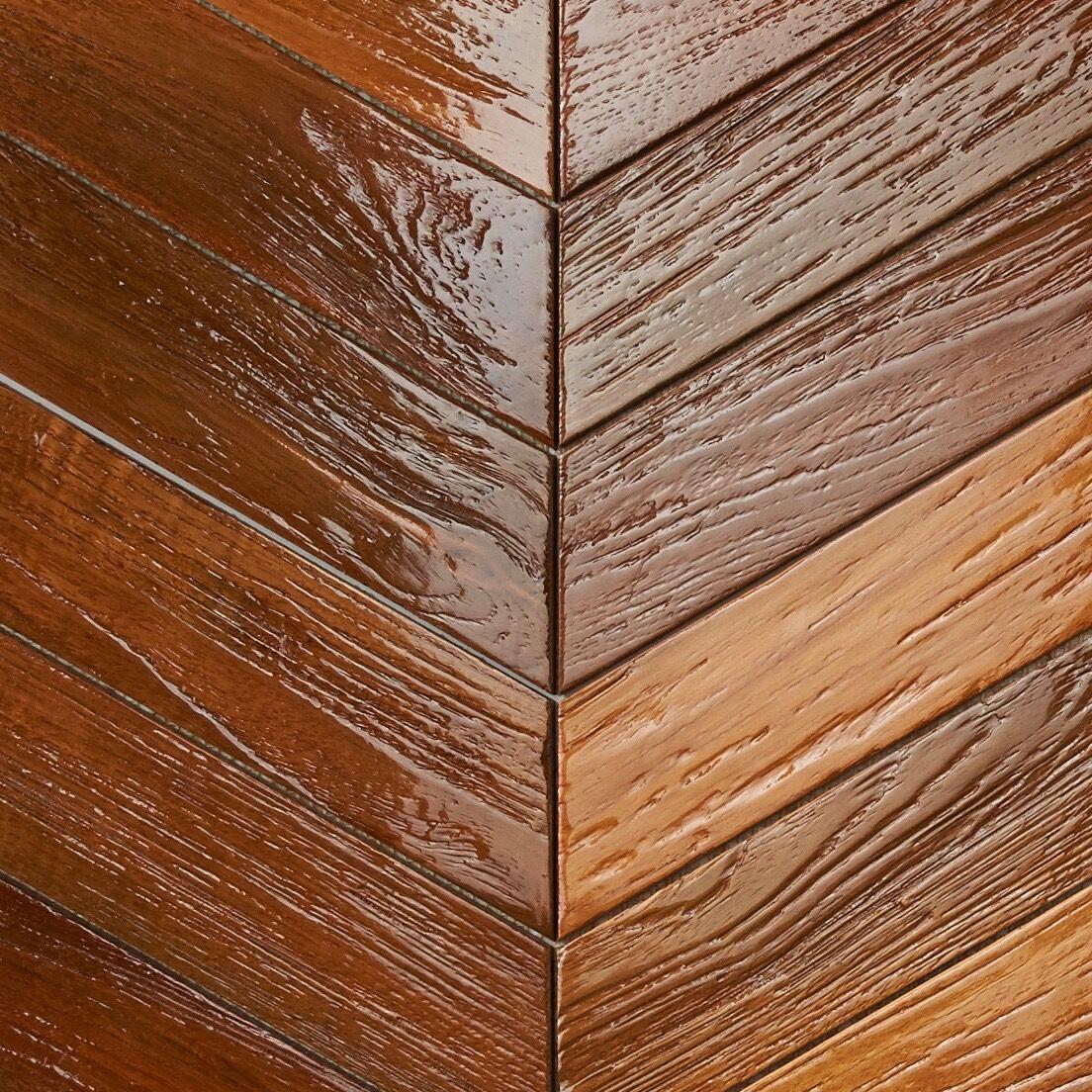 natural resin finish - Teak Tile - Chevron