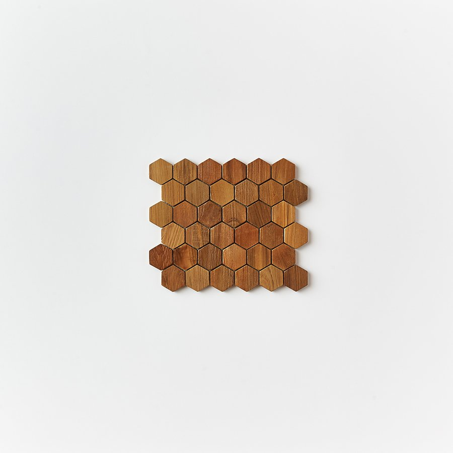 natural single tile 1 - Teak Tile - Honeycomb