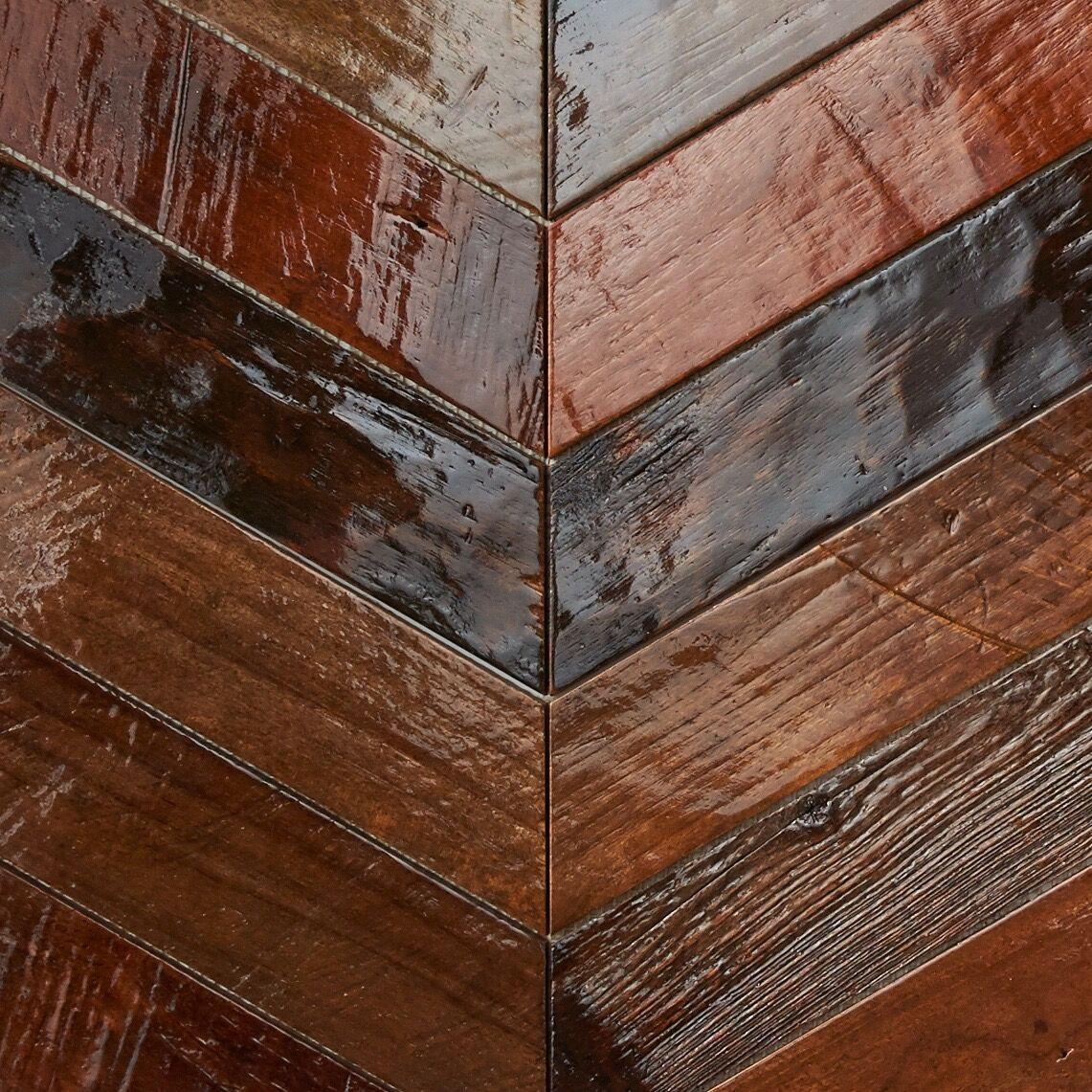 patina resin finish - Teak Tile - Chevron