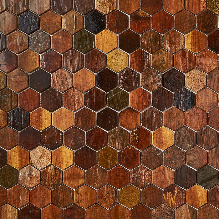 patina resin - Teak Tile - Honeycomb