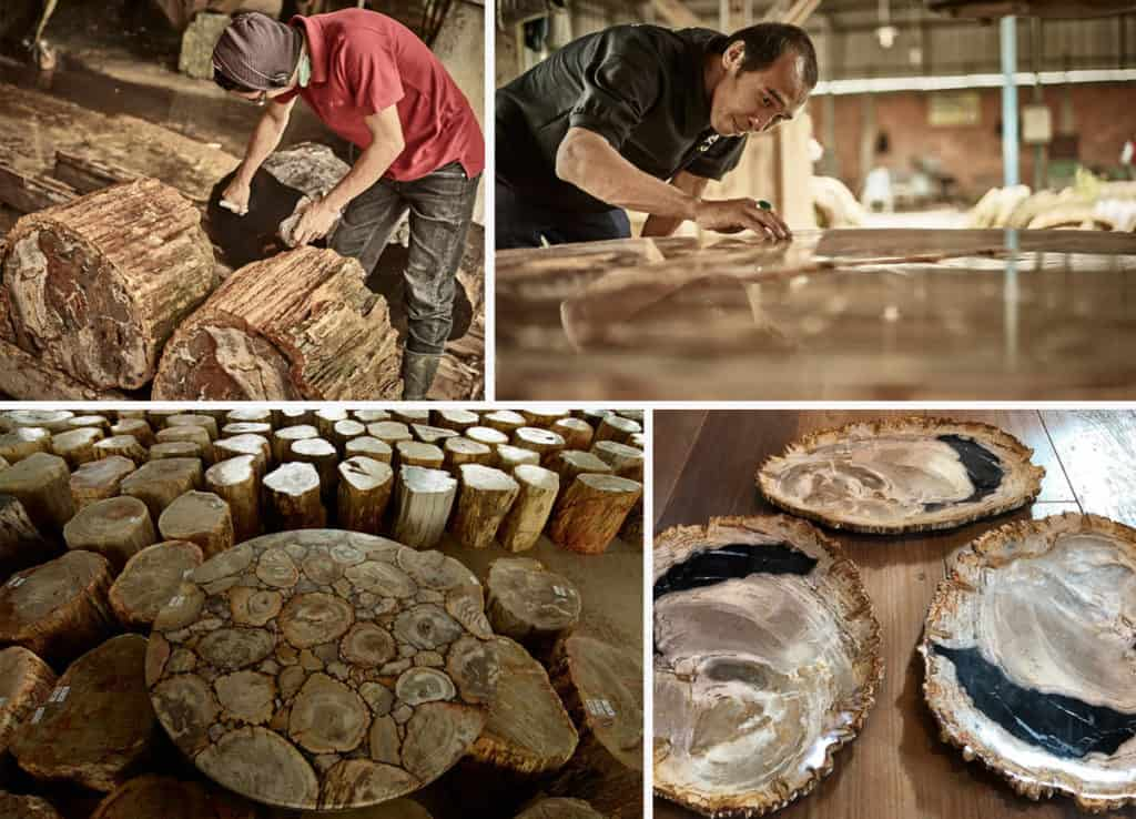 Woodworkers with petrified wood