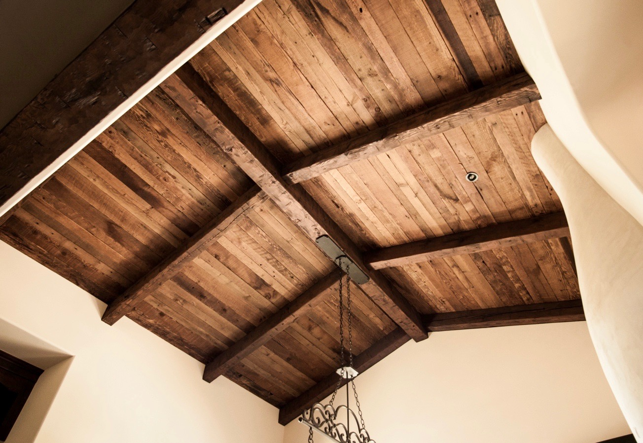 semi surfaced wood ceiling decking mixed widths - Reclaimed Planking Douglas Fir
