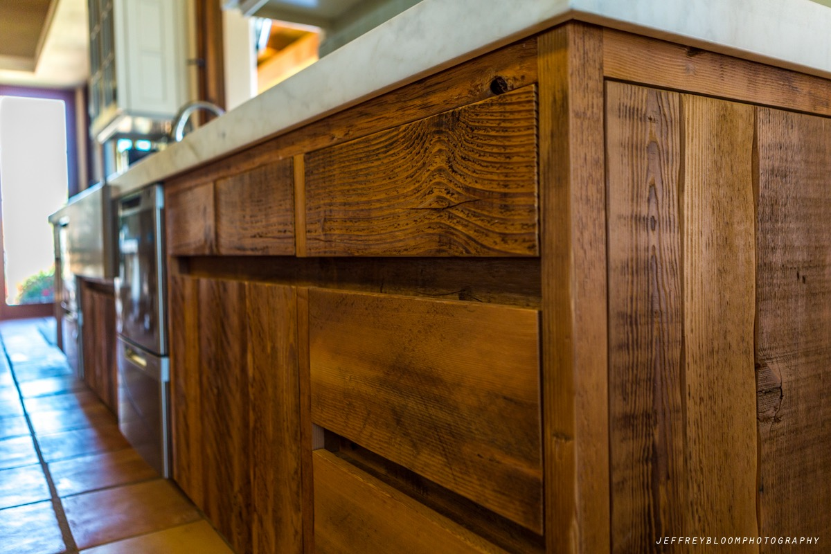 semi surfaced wood kitchen cabinets - Reclaimed Planking Douglas Fir