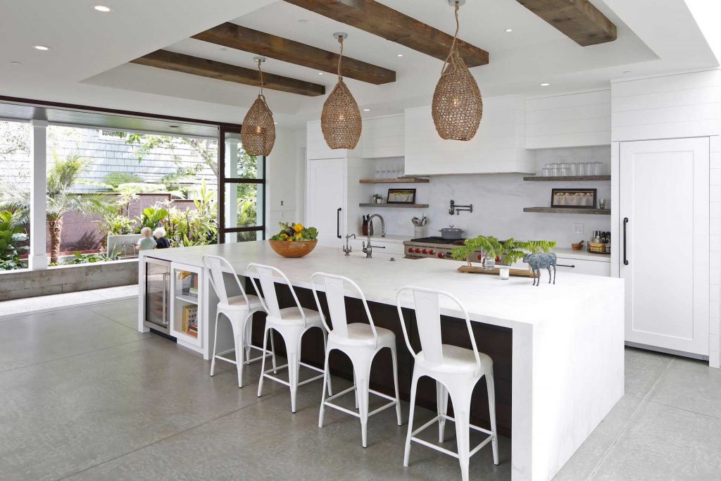 shiplap kitchen floating shelves reclaimed beams white modern