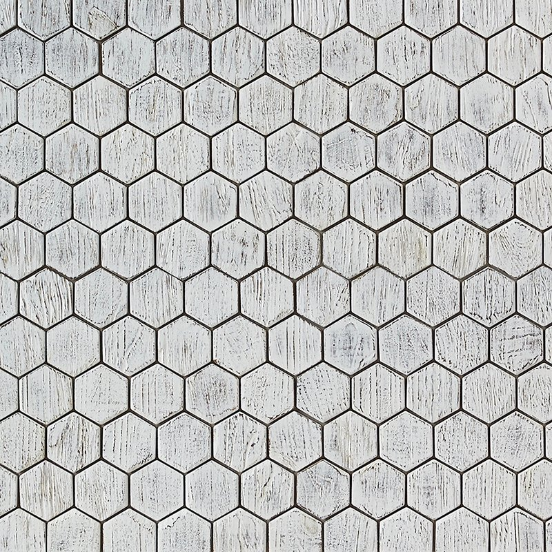 white matte finish 1 - Teak Tile - Honeycomb