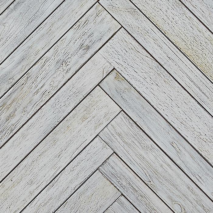 white matte finish 2 - Teak Tile - Herringbone