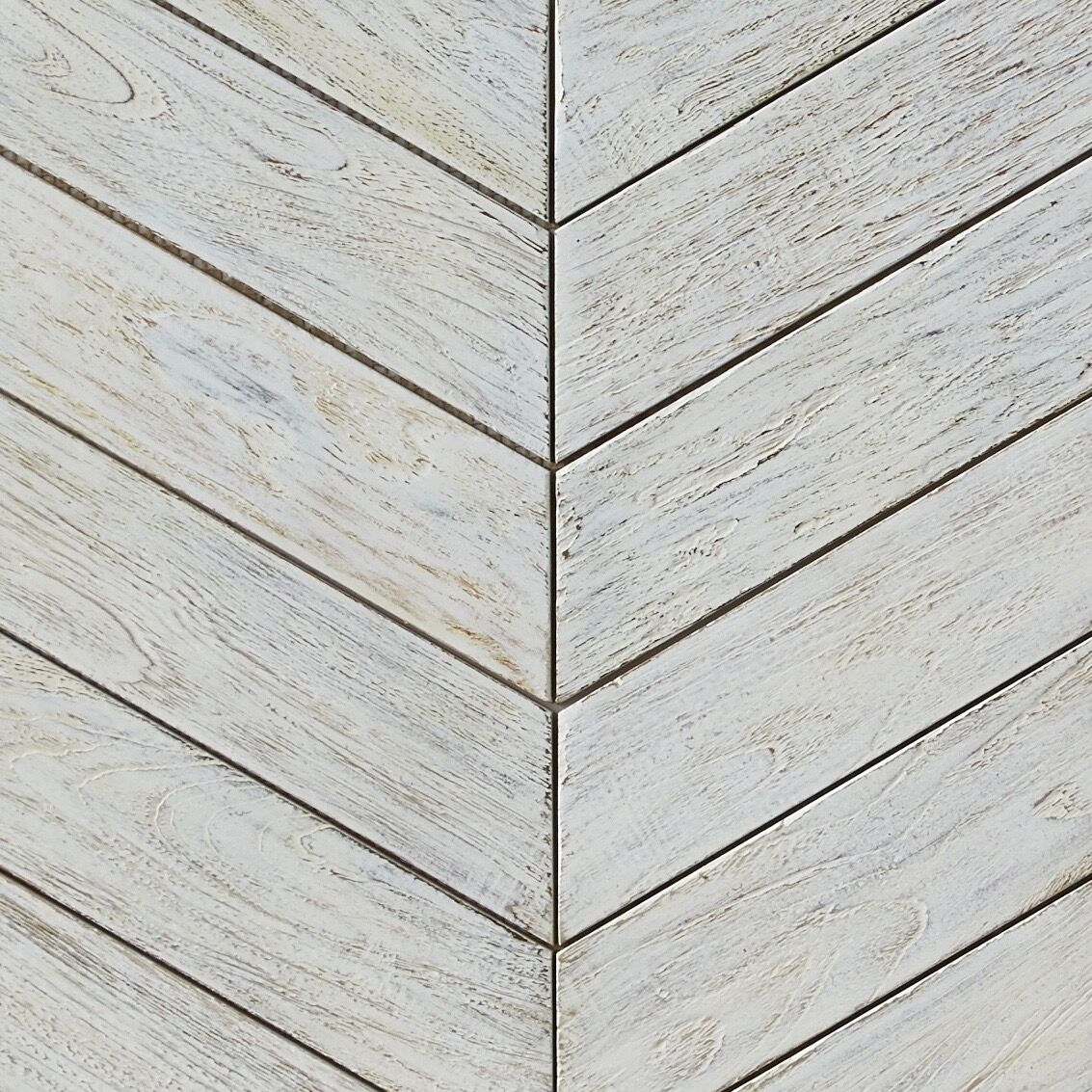 white matte finish - Teak Tile - Chevron