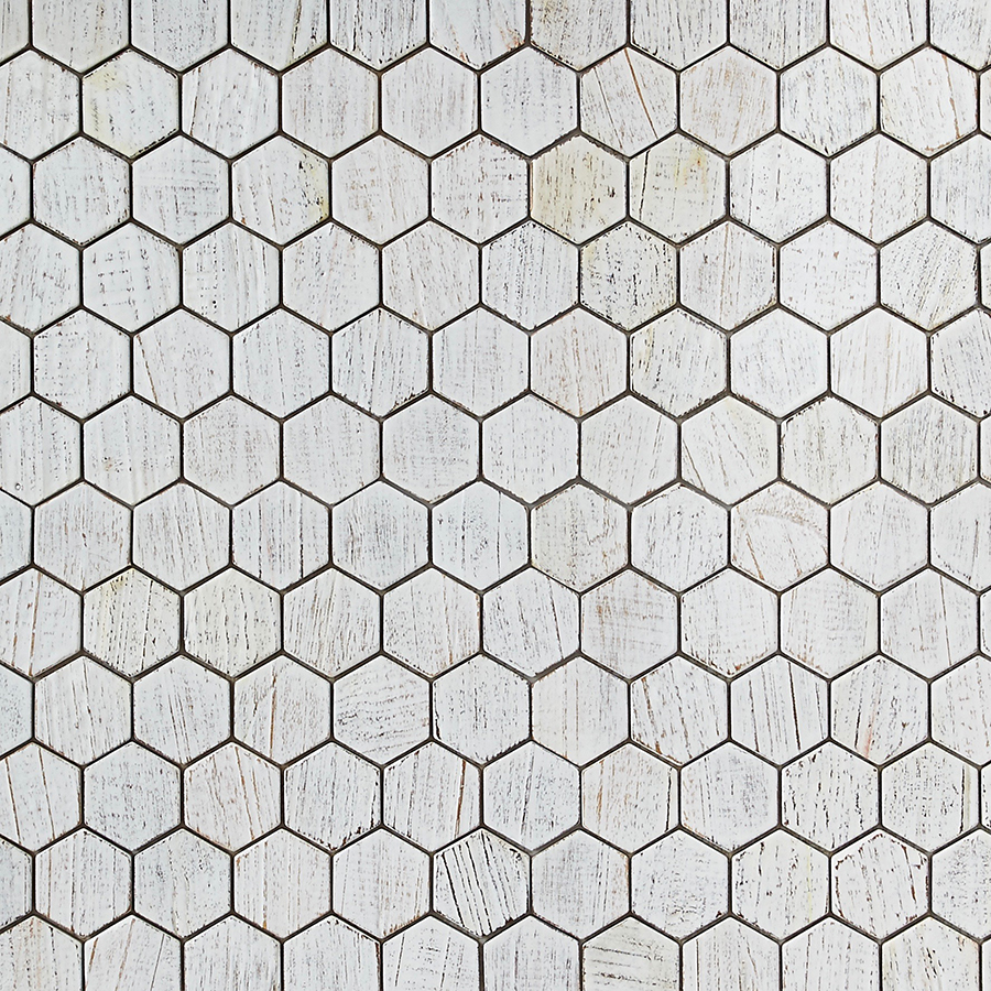white resin finish 1 - Teak Tile - Honeycomb