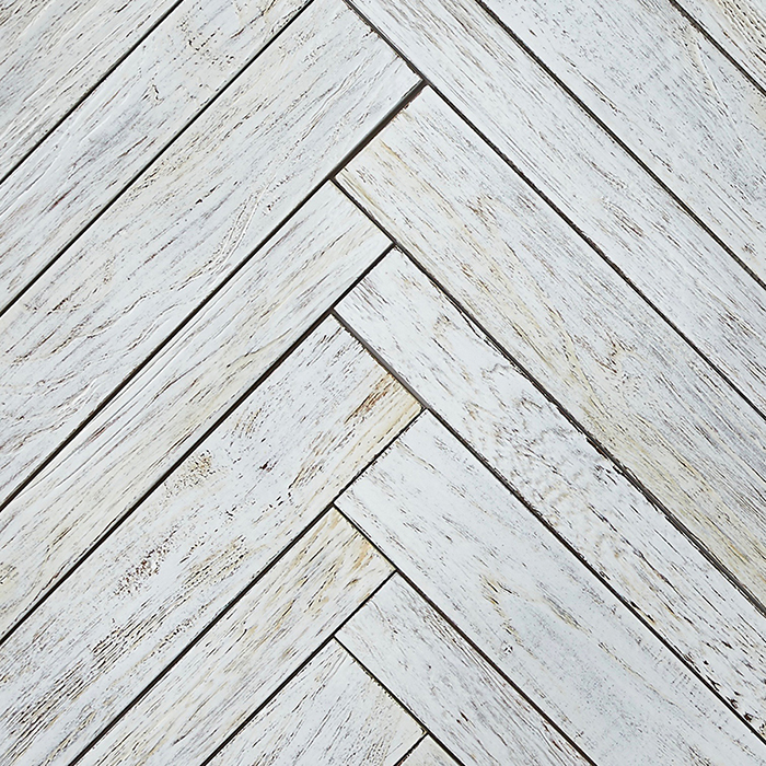 white resin finish 2 - Teak Tile - Herringbone
