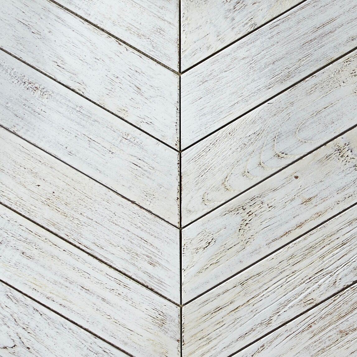 white resin finish - Teak Tile - Chevron